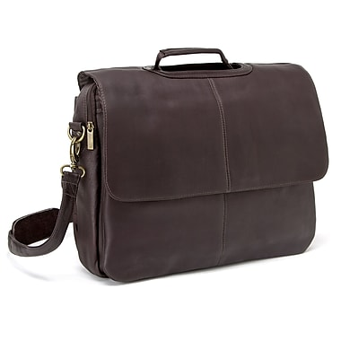 Le Donne Leather Laptop Briefcase; Brown
