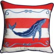 Rightside Design I Sea Life Blue Whale Striped Outdoor Sunbrella Throw Pillow