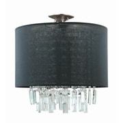 DVI Piccadilly 3-Light Semi Flush Mount; Buffed Nickel with White Fabric Shade
