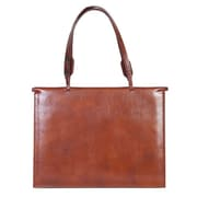 Scully Snap Closure Leather Briefcase; Magahony