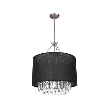 DVI Piccadilly 3 Light Drum Pendant; Buffed Nickel with Black Fabric Shade