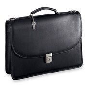 Jack Georges Platinum Single Gusset Leather Briefcase; Black