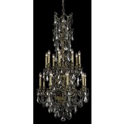 Elegant Lighting Monarch 16 Light  Chandelier; Antique Bronze / Silver Shade (Grey) / Royal Cut