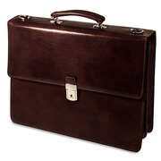 Jack Georges Sienna Double Gusset Leather Briefcase; Cognac