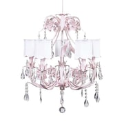 Jubilee Collection Ballroom 5-Light Shaded Chandelier; Scallop Drum White
