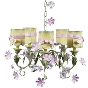 Jubilee Collection Leaf and Flower 5-Light Shaded Chandelier; Green Scallop Drum