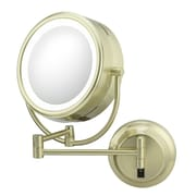 Kimball & Young NeoModern LED Lighted Hardwire Wall Mirror; Brushed Brass