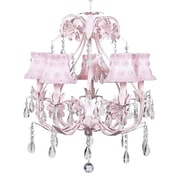 Jubilee Collection Ballroom 5 Light Chandelier with Scallop Drum Shade; Petal Flower Pink