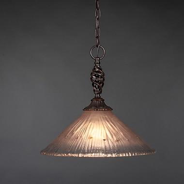 Toltec Lighting Elegant 1 Light Pendant; Amber Crystal Glass