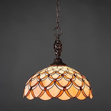 Toltec Lighting Elegant 1-Light Pendant; Honey and Brown Scallop Tiffany Glass