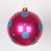 Vickerman Polka Dot Candy Ball Ornament; Cerise/Turquoise
