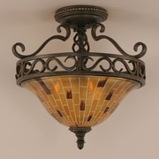 Toltec Lighting Elegant  3 Bulb Semi Flush Mount; Pen Shell Resin