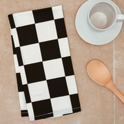 Linen Tablecloth Checker Board Kitchen Towel (Set of 2); Black/White