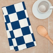 Linen Tablecloth Checker Board Kitchen Towel (Set of 2); Navy Blue/White