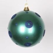 Vickerman Polka Dot Candy Ball Ornament; Teal/Sea Blue
