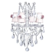 Jubilee Collection Crystal Glass Center 4 Light Chandelier; Pink w/White Sash and Pink Rose Magnets