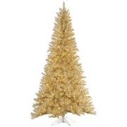 Vickerman 7.5' White/Gold Tinsel Artificial Christmas Tree w/ 700 LED Clear Dura-Lit Lights
