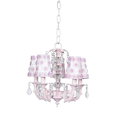 Jubilee Collection Stacked Glass Ball 5 Light Chandelier w/ Petal Flower Shades