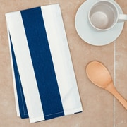 Linen Tablecloth Stripes Kitchen Towel (Set of 2); Navy Blue/White