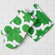 Linen Tablecloth Trellis Oven Mitt / Pot Holder; Green/White