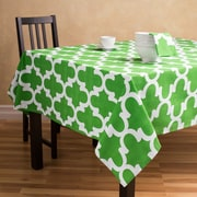 Linen Tablecloth Trellis Rectangular Cotton Tablecloth; Green/White