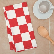 Linen Tablecloth Checker Board Kitchen Towel (Set of 2); Red/White