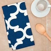 Linen Tablecloth Trellis Kitchen Towel (Set of 2); Navy Blue/White