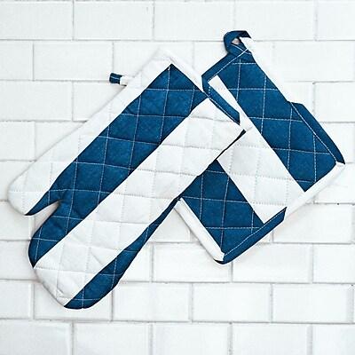 Linen Tablecloth Stripes Oven Mitt and Potholder Set (Set of 2); Navy Blue/White WYF078277965219