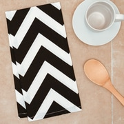 Linen Tablecloth Chevron Kitchen Towel (Set of 2); Black/White