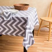 Linen Tablecloth Chevron Square Cotton Tablecloth; Charcoal/White