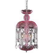 Elegant Lighting Rococo 3 Light Mini Pendant; Pink