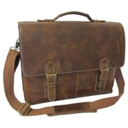 AmeriLeather Classical Leather Organizer Briefcase; Brown