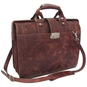 AmeriLeather Leather Doctor's Carriage Briefcase; Brown Ostrich Print