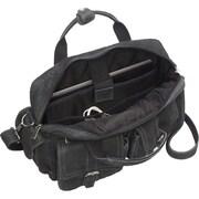 David King Leather Laptop Double Pocket Briefcase; Black