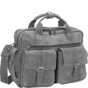 David King Leather Laptop Double Pocket Briefcase; Grey