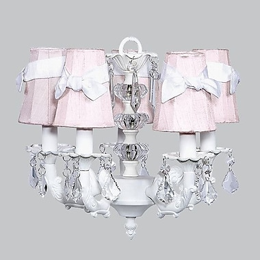 Jubilee Collection Stacked Ball 5-Light Shaded Chandelier; White with Lavender Check Sash