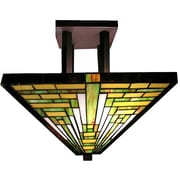 Warehouse of Tiffany Frank Lloyd Wright 2 Light Semi Flush Mount