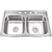 Soleil 33'' x 22'' Stainless Steel Drop In Double Bowl Kitchen Sink