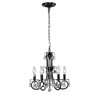 Z-Lite Pearl 5 Light Candle-Style Chandelier; Black