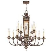 Livex Lighting Bristol Manor Twelve Light Chandelier in Palacial Bronze with Gilded Accents