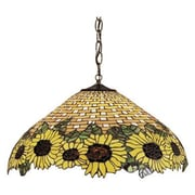 Meyda Tiffany Wicker 3 Light Sunflower Pendant