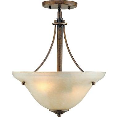 Forte Lighting 2-Light Sloped Semi Flush Mount; Chestnut / Gold Dust