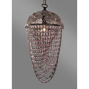 Classic Lighting Prague Color 1 Light Bowl Pendant; Crystalique Clear & Pink