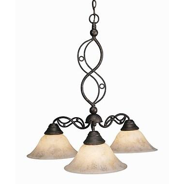 Toltec Lighting Jazz 3-Light Shaded Chandelier; Bronze