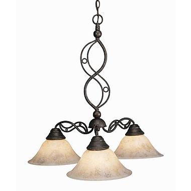 Toltec Lighting Jazz 3 Light Chandelier w/ Italian Marble Glass Shade; Bronze