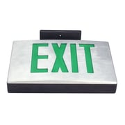 Deco Lighting Single Face Cast Aluminum LED Exit Sign Light; White Housing with Green Letters