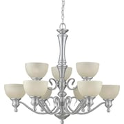 Forte Lighting 9 Light Chandelier with Umber Linen Glass Shades