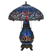 Meyda Tiffany Tiffany Hanginghead Dragonfly Lighted Base 25.5'' H Table Lamp with Bowl Shade