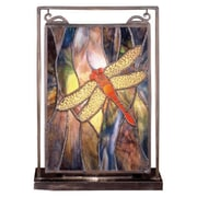 Meyda Tiffany Floral Insects Tiffany Dragonfly Lighted Mini 10.5'' H Table Lamp w/Rectangular Shade