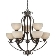 Forte Lighting 9 Light Chandelier with Tapioca Shades
